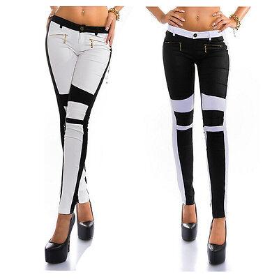 Fashion Women Skinny Zipper Ripped Stretchy Slim Legging Long trousers