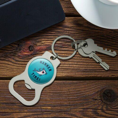 Hammerhead Shark Hammer Time Funny Humor Bottle Cap Opener Keychain Key Ring