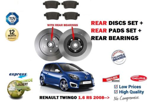 REAR BEARINGS KIT FOR RENAULT TWINGO 1.6 RS 2008-/> REAR BRAKE DISCS SET PADS
