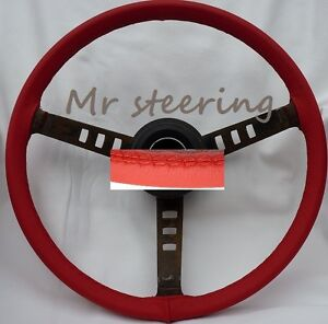 FOR-CHEVROLET-CORVETTE-C3-RED-ITALIAN-LEATHER-STEERING-WHEEL-COVER-1967-1982