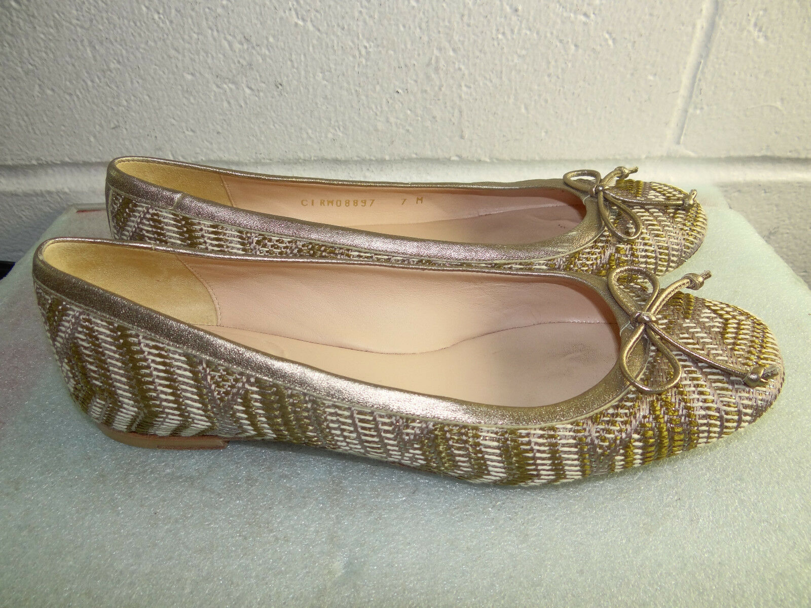 STUART WEITZMAN Multi-Coloree Fabric Flats donna Dimensione 7M Made in ITALY