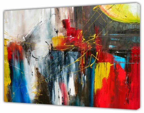 Red//Blue Grey tones Abstract Oil paint Reprint On Framed Canvas Wall art Decor