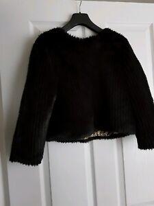 Fake Glamorous Brand Black Fur Top S New Small Size xxB6gw