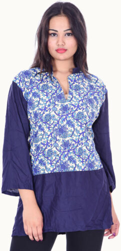 Indian Women/'s Top Kurti Casual Ethnic Tunic Floral Print Blue Color Frock Suit