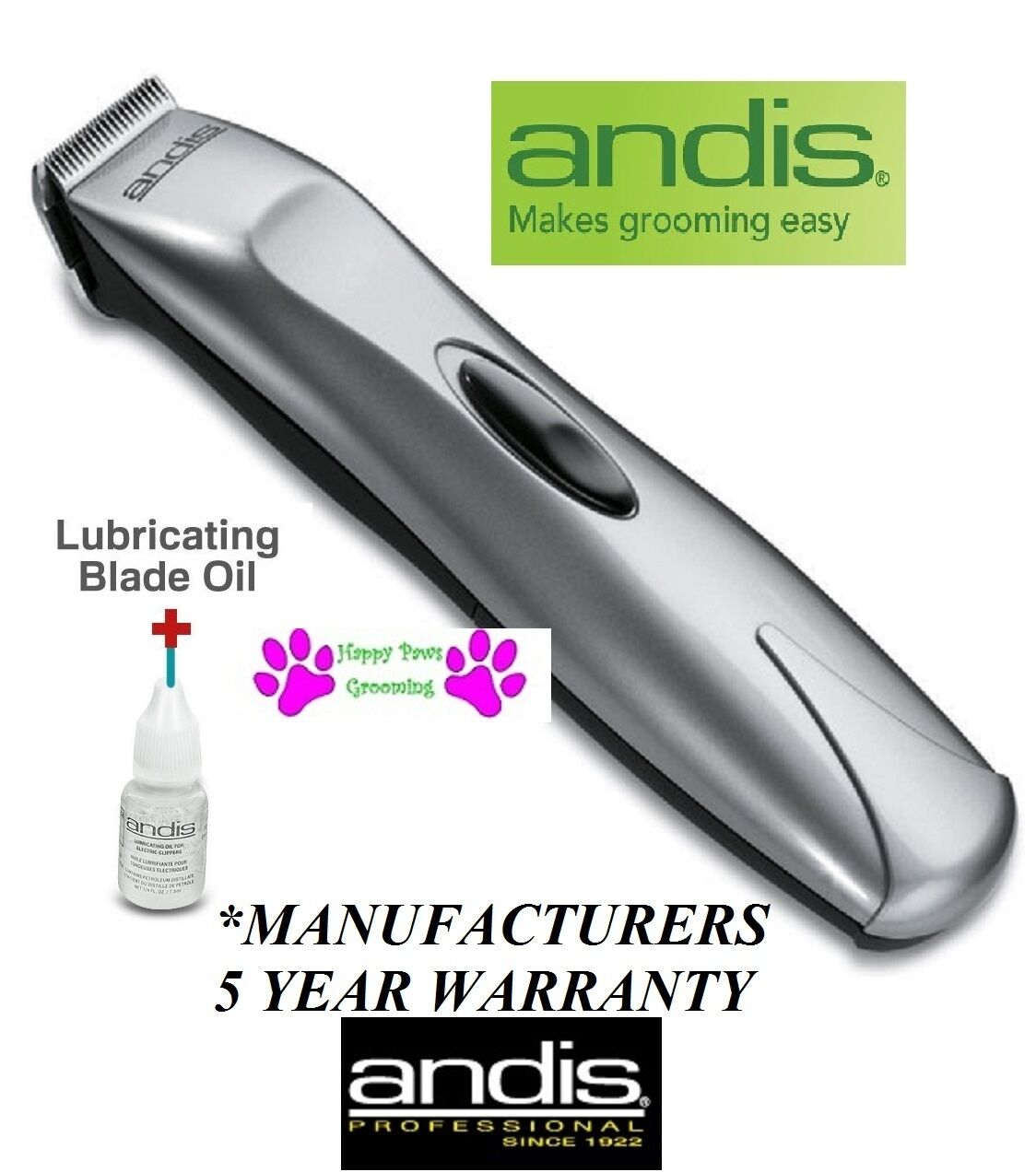 Andis Cordless BTB Mini Trimmer Clipper & Blade Set Pet DOG CAT Horse Grooming