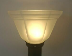 Vtg-Clear-Glass-Lamp-Shade-Frosted-Oblong-Octagonal-Shape-Banded-Edge-2-034-Fitter