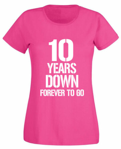 10 Years Down T-Shirt 10th Wedding Anniversary Gifts Present For Wife Her Women