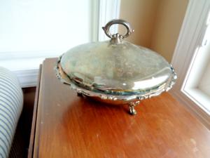 Vintage Oneida Argenterie Couverts Dessert Bol en verre Pyrex Insert Warming dish