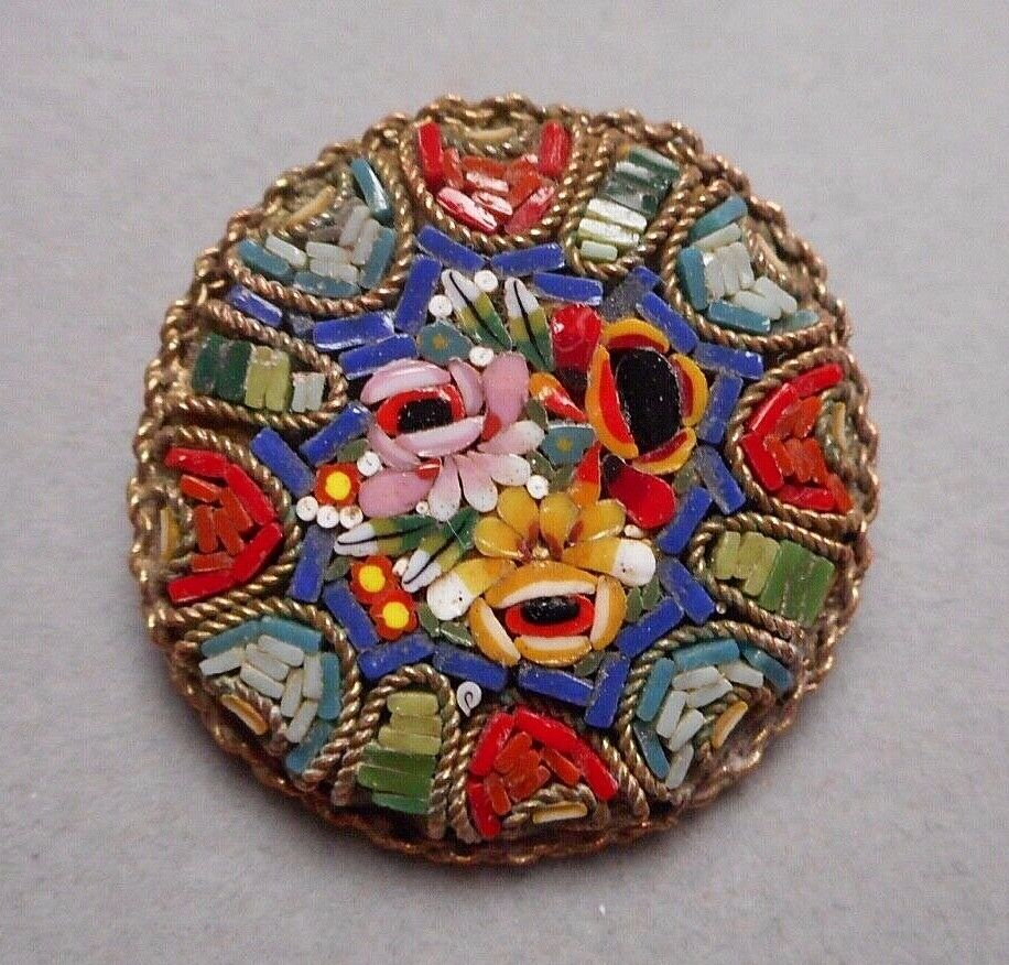 1950s Italian Micro Mosaic Brooch Pin Round Multi Floral Bouquet on blueee