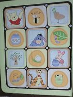 Pooh Nature Block Quilt Fabric 2 Top Panel Button Green Brown Bee Hunny Disney