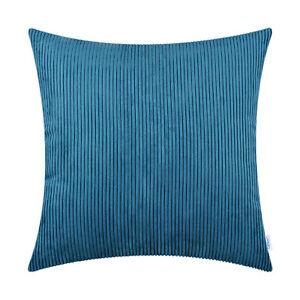 2Pcs Square Coffee Pillows Cushion Covers Soft Corduroy Stripes Decor 50cmX50cm