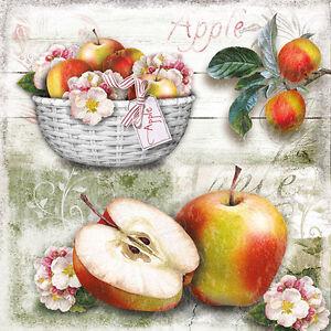 """4 Servietten /""""Apple/"""" 33x33 Napkins Äpfel Früchte Sommer Serviettentechnik"""