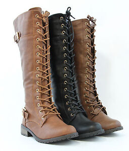 2416e566a35 Women Knee High Lace Up Fashion Military Combat Boots Riding Style ...