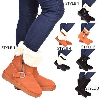 Damas Mujeres Cuero Genuino De Invierno Botas Nieve Piel De Oveja Real Piel Zapatos Talla 3-8