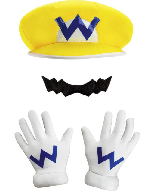 Super Mario Brothers Wario Adult Hat Gloves and Moustache Kit