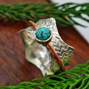Turquoise-Solid-925-Sterling-Silver-Spinner-Ring-Meditation-statement-Ring-SR340