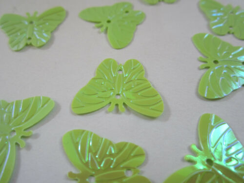 50 Applikation Aufnäher Hell Grün  Pailletten elegante Muster Borte Nähen 2,2cm