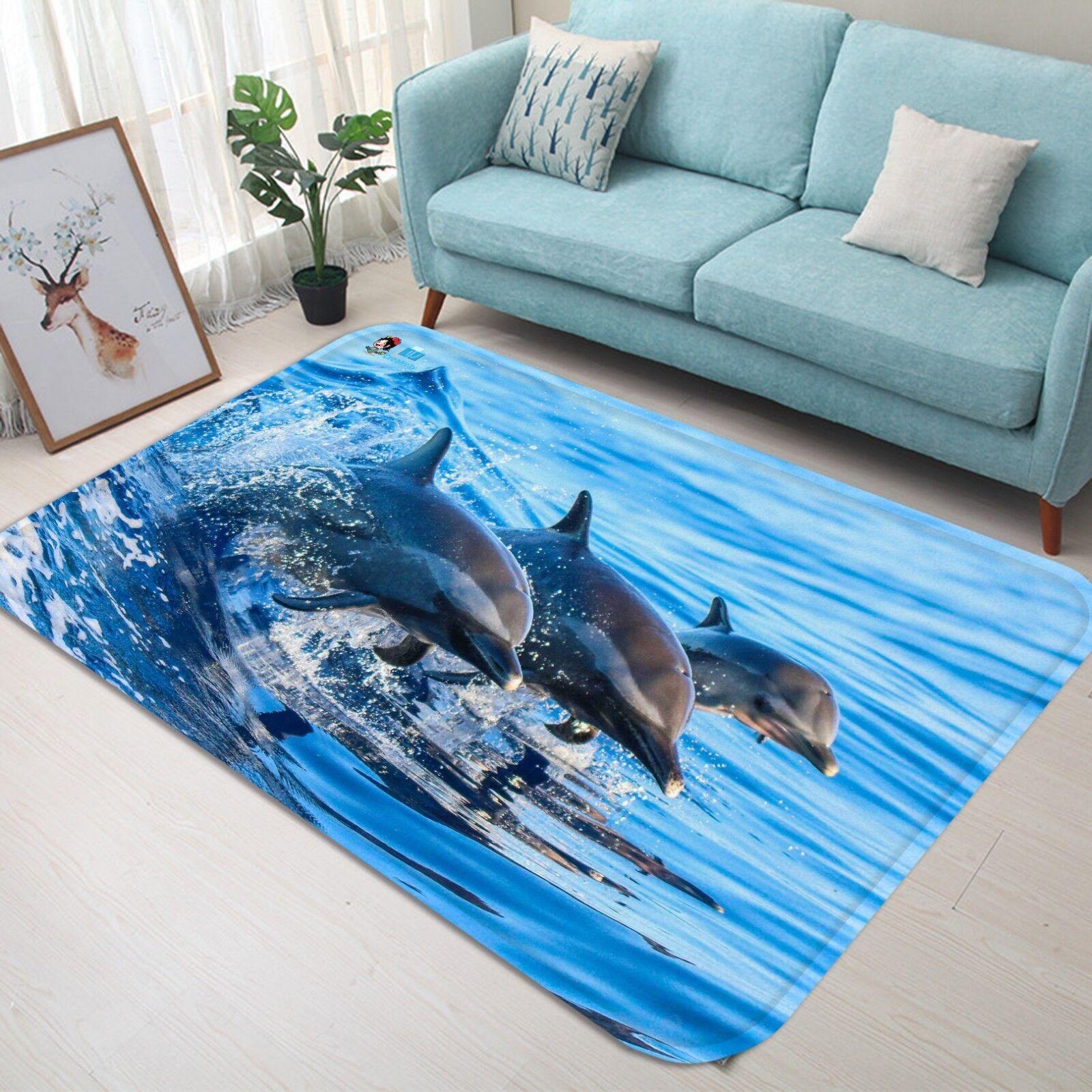 3D Dolphin 13 tappetino antiscivolo tappeto camera Tappetino Qualità Elegante foto Tappeto UK Estate