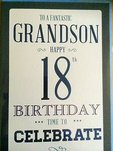 Image Is Loading Grandson 18th Birthday Card