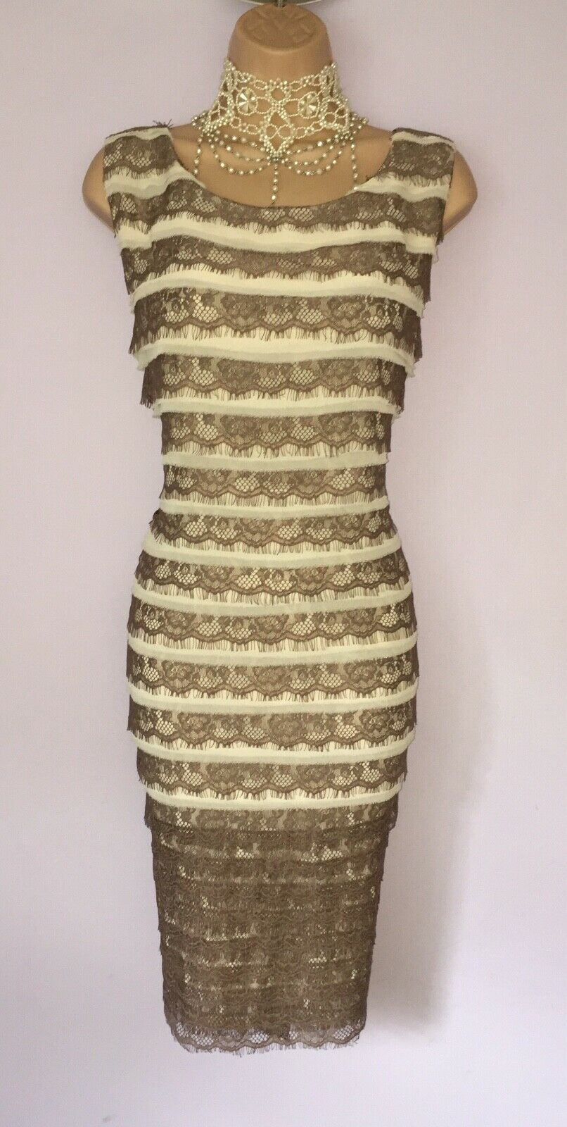 ELEGANT PHASE EIGHT DRESS L about UK 18 TIERED LACE OCCASION DRESS WEDDING RACES