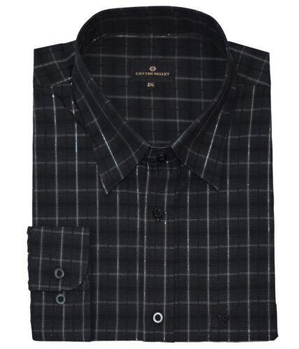 15657 Cotton Valley Da Uomo Puro Cotone Dobbie Controllo Nero Camicia Club