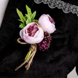 9379cc2f0 1 / 2pc Groomsman Men/Women Corsage Flower Brooch Groom Boutonniere ...