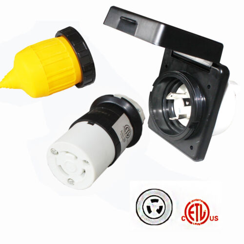 RV Power Twist Lock Plug Inlet 30amp 125V Female Locking Connector with Cover