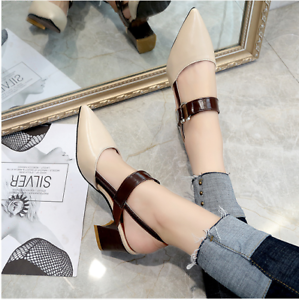 Spring-High-Heeled-Hollow-Coarse-Sandals-Summer-Women-039-s-Shallow-Casual-Shoes-New