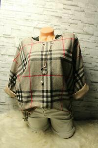Italy-Pullover-Gr-36-38-40-42-Shirt-Karo-Teile-blogger-Glencheck-Top-Kette