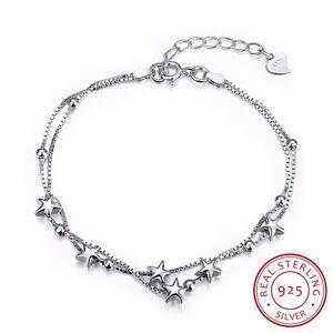 Genuine-925-Sterling-Silver-Wome-s-Lovely-Stars-Beads-Charm-Bracelet-Chain-Gift