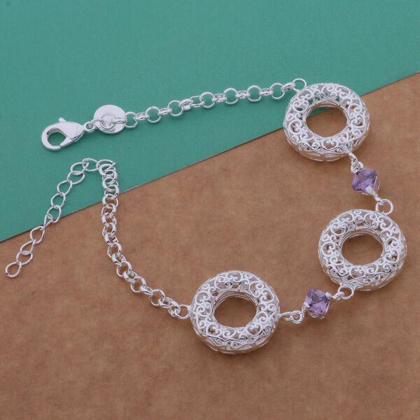 UK Hot Wholesale Fashion Jewelry Lady/mens925 SILVER Bracelet Bangle Chain +Box