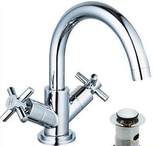Chrome-Cross-Head-Swan-Neck-Swivel-Spout-Bathroom-Basin-Sink-Mixer-Taps-6107