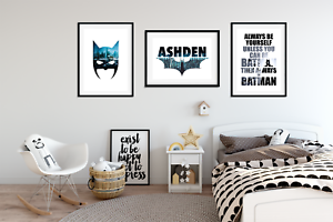 Personalised Name BATMAN PICTURES for Boys Bedroom A4 Prints Home ...