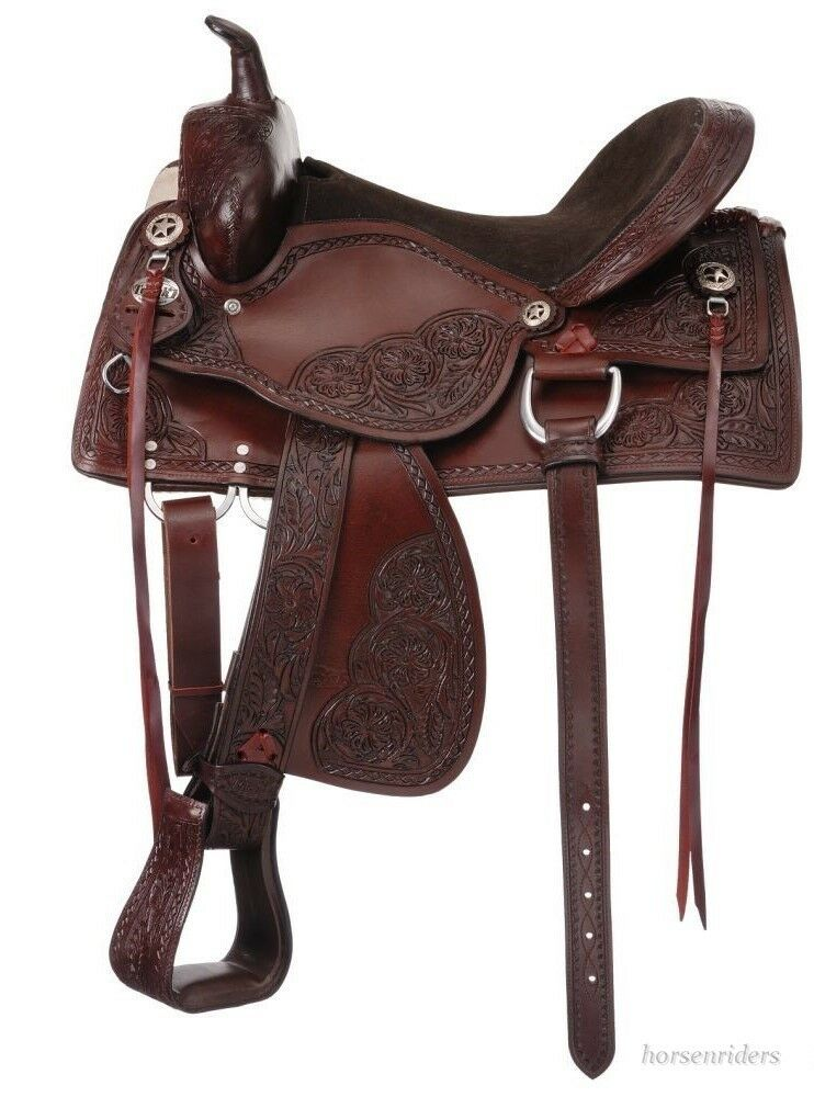 19 Inch Western Old Time Trail Saddle - Dark Oil Leather