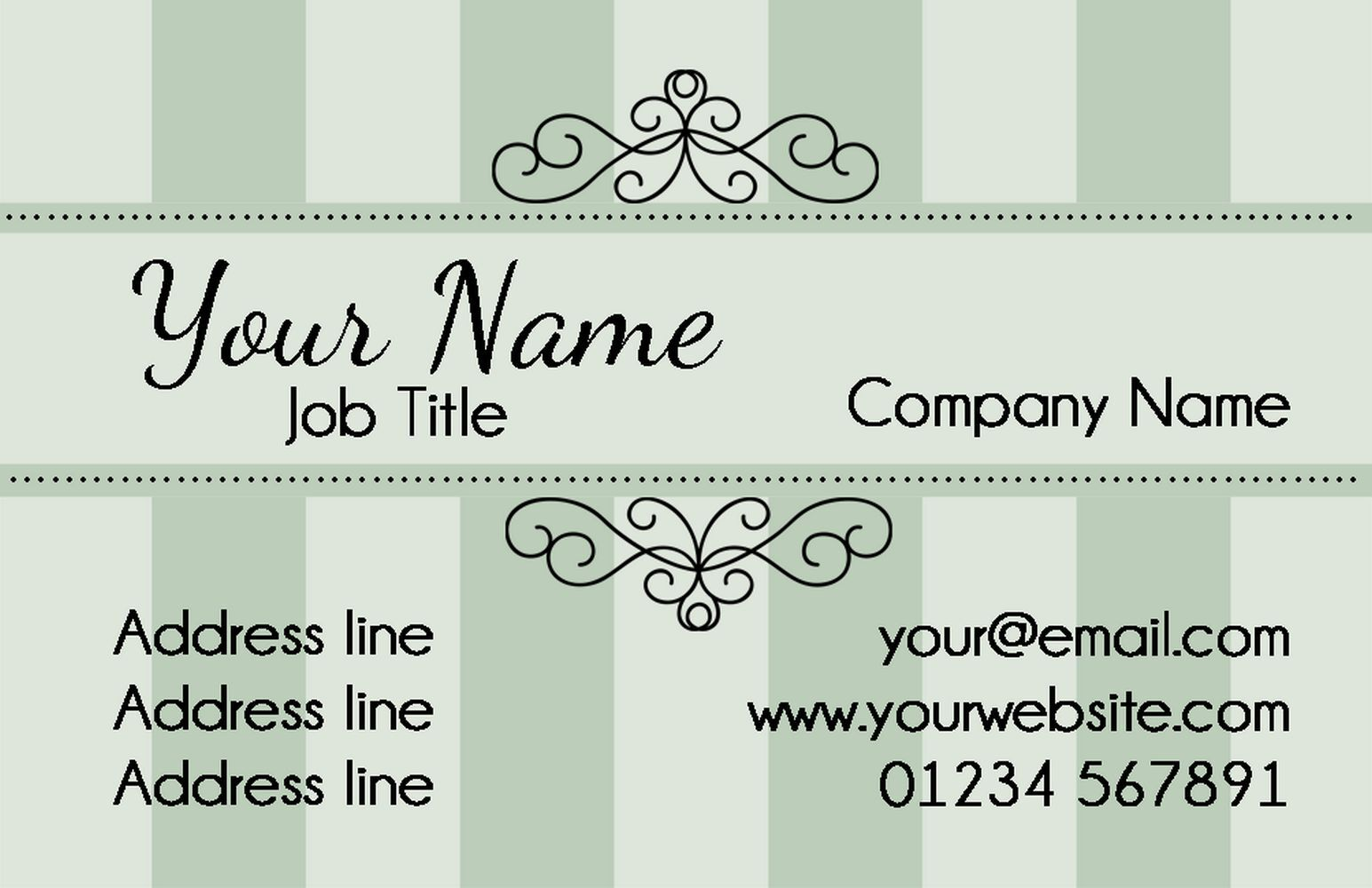 Champagne Classic Grün Personalised Business Cards