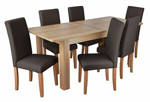 Details About Argos Home Miami Curve Extendable Table 6 Leather Effect Chairs Chocolate