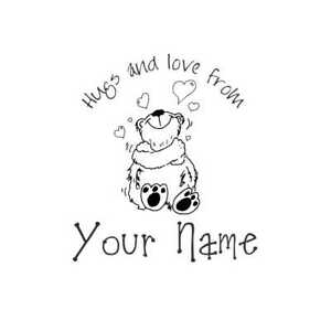 UNMOUNTED-PERSONALIZED-039-hugs-amp-loves-039-RUBBER-STAMPS