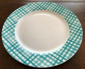 CIROA-Set-of-4-GINGHAM-PLAID-Dinner-Plates-PORCELAIN-Teal-White-EASTER-NWT