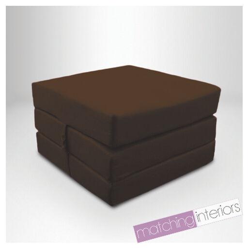 100% coton brun fold out single z bed Cube futon chaise lit invité studio budget