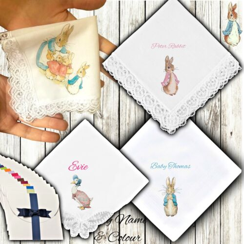 Peter Rabbit Handkerchief Personalised Ladies Mens Kids Baby Gift Beatrix Potter
