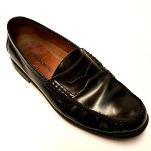 1597d9fcb99 JOHNSTON   MURPHY Mens 10M Black Leather Pannell Penny Loafers Shoes ...