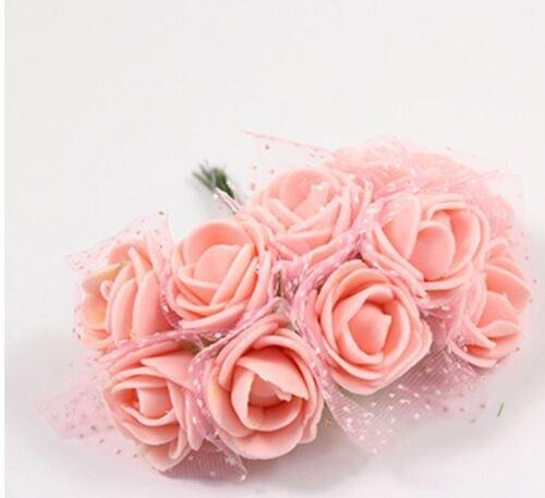 12 Foamrosen Schaumrosen Rosenköpfe Rosenblüte Rose Tüll Blumen Stiel Blätter