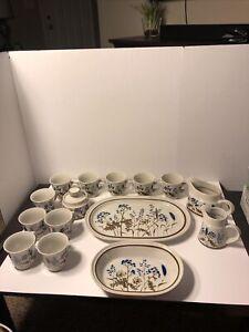 """NORITAKE 15 Piece STONEWARE Set#B957 WINSOME 14"""" PLATTER Cups Bowl Creamer Sugar"""