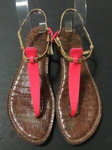 bfe746a492db Sam Edelman Gigi Thong T Strap Sandals Hot Pink Neon   Cork Women s ...