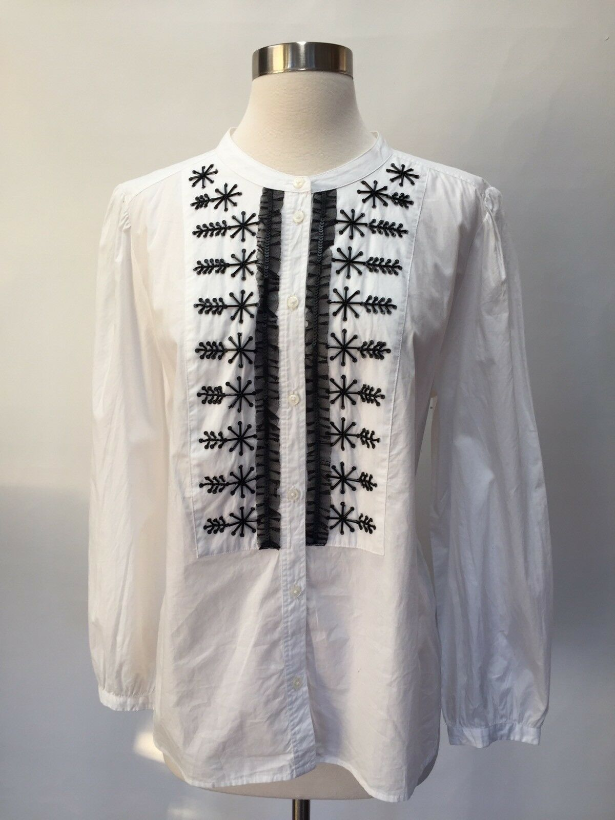 NWT JCREW  Embellished button-up shirt in Weiß poplin Größe L Weiß H3827
