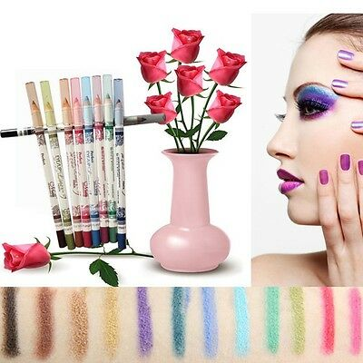 12PCS Colorful Glitter Eyeliner Eye Shadow Lip Liner Pencil Pen Makeup Cosmetic