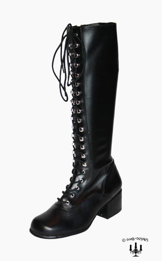 Kult vintage Style Stiefel Blockabsatz Gothic 80er 90er schwarz Schnürstiefel