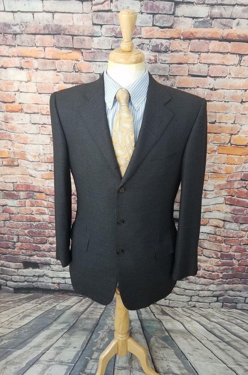 Ermenegildo Zegna 15 Milmil 15 ITALY 40R Grey Birds Eye Wool Sport Coat Blazer