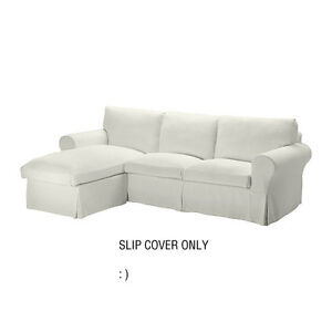 Ikea Ektorp Loveseat Sofa With Chaise Cover Replacement Stenasa White Retired