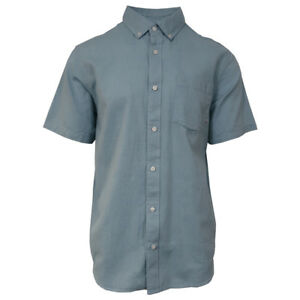Vans-Off-The-Wall-Men-039-s-Adriatic-Blue-Mini-Hex-B-S-S-Woven-Shirt-Retail-42